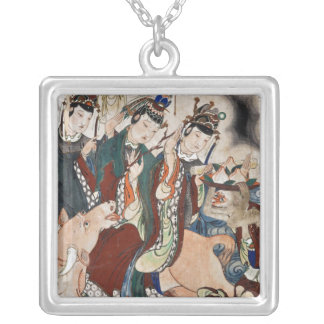 The Ox Figure of the Chinese Zodiac Wall Painting Square Pendant Necklace