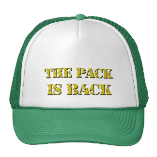 the pack is back cheese text hats