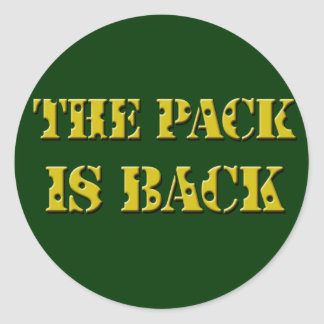 the pack is back cheese text round sticker