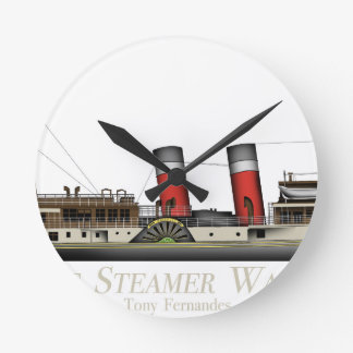 The Paddle Steamer Waverley by Tony Fernandes Round Clock