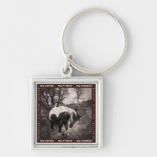 The Paint Horse II gifts & greetings Silver-Colored Square Key Ring