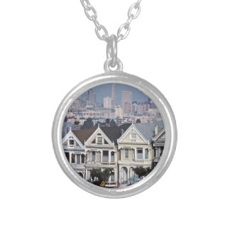 The Painted Ladies San Francisco Round Pendant Necklace
