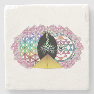The Painted Pyramid Logo Stone Coaster