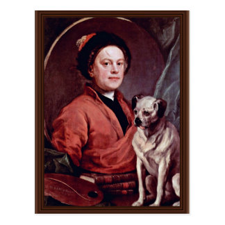 The Painter And His Pug Self Portrait By Hogarth, Postcard