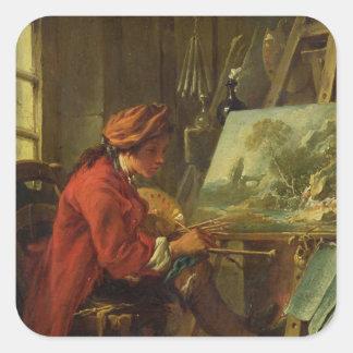 The Painter in his Studio Square Sticker