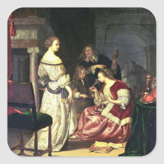 The Painter with his Family, 1675 (oil on panel) Square Stickers