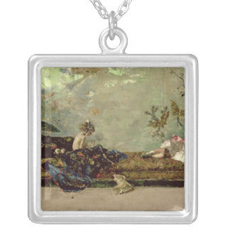 The Painter's Children in the Japanese Salon Silver Plated Necklace