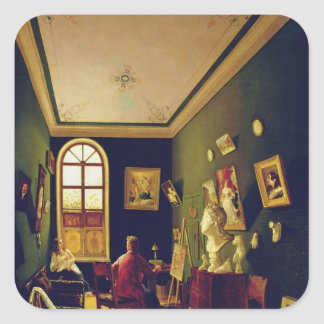 The Painter's Studio, 1843 Square Sticker