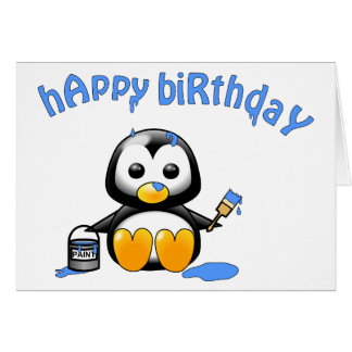 The Painting Penguin Blue Brithday Card