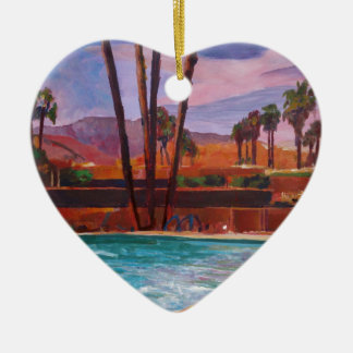The Palm Springs Pool Ceramic Heart Decoration