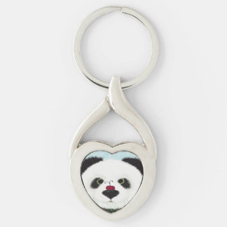 The Panda And His Visitor Keychain Silver-Colored Twisted Heart Key Ring