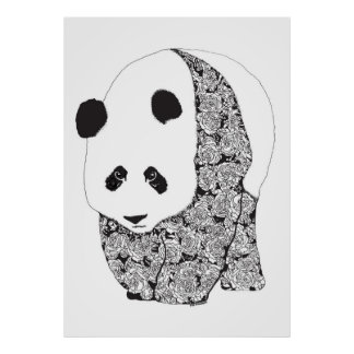 The Panda With The Roses Posters