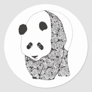 The Panda With The Roses Round Stickers