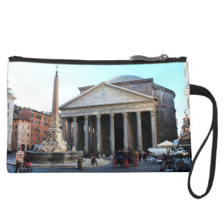 The Pantheon and its famous square in Rome, Italy Suede Wristlet