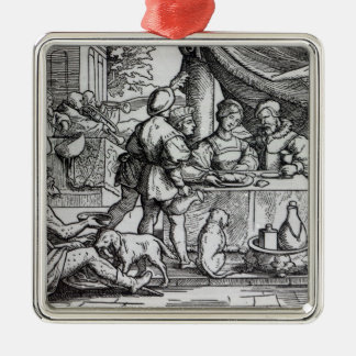 The Parable of Lazarus and Dives Silver-Colored Square Decoration