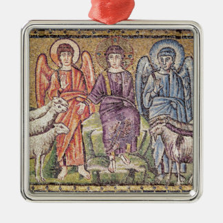 The Parable of the Good Shepherd Silver-Colored Square Decoration