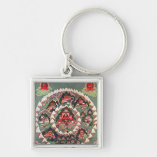 The Paradise of Shambhala, Tibetan Banner Silver-Colored Square Key Ring