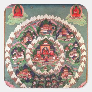 The Paradise of Shambhala, Tibetan Banner Square Sticker