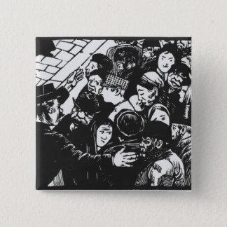 The Paris crowd, 1892 15 Cm Square Badge