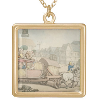 The Paris Diligence (pen & ink and w/c on paper) Square Pendant Necklace