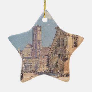 The parish church in Ofen by Rudolf von Alt Ceramic Star Decoration