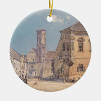 The parish church in Ofen by Rudolf von Alt Round Ceramic Decoration