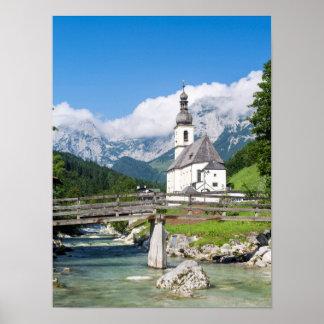 The parish church of Ramsau in Bavaria, Germany Poster