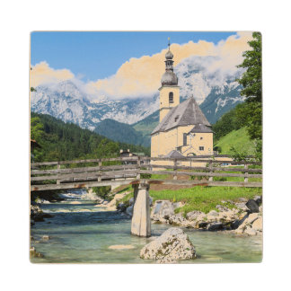 The parish church of Ramsau in Bavaria, Germany Wood Coaster
