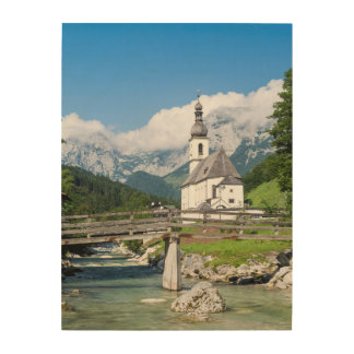 The parish church of Ramsau in Bavaria, Germany Wood Print