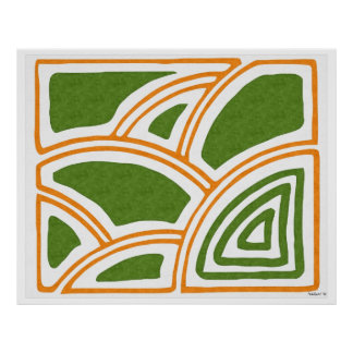 The park; Abstract oil painting in orange, green Poster