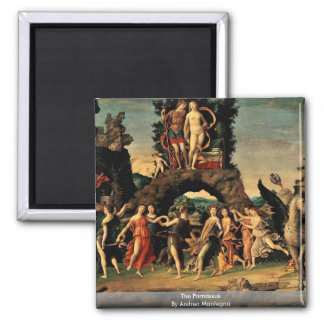 The Parnassus By Andrea Mantegna Square Magnet