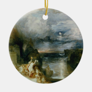 The Parting of Hero and Leander (oil on canvas) Round Ceramic Decoration
