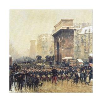 The Passing Regiment, 1875 Canvas Print