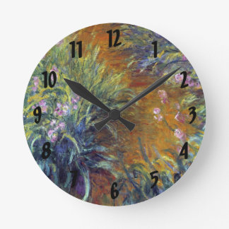 The Path Through the Irises by Claude Monet Round Clock