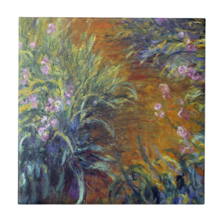 The Path Through the Irises by Claude Monet Small Square Tile