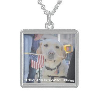 The Patriotic Dog Square Pendant Necklace