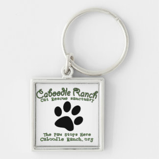 'The Paw Stops Here' Silver-Colored Square Key Ring