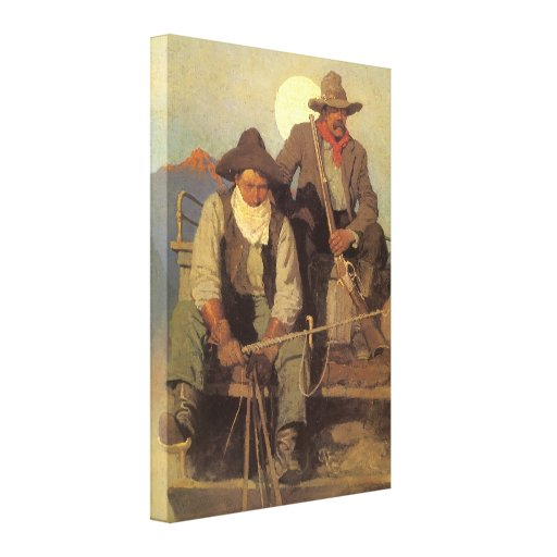 The Pay Stage by NC Wyeth, Vintage Cowboys Canvas Print