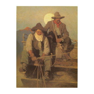 The Pay Stage by NC Wyeth, Vintage Cowboys Wood Canvas