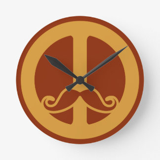 The Peace Stache wall clock