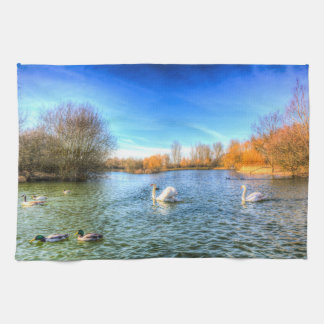 The Peaceful Swan Lake Tea Towel