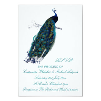"""The Peacock Collection RSVP 3.5"""" X 5"""" Invitation Card"""