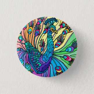 The Peacock Shows Its Feathers 3 Cm Round Badge