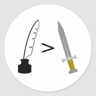 The Pen is mightier than the Sword Round Stickers