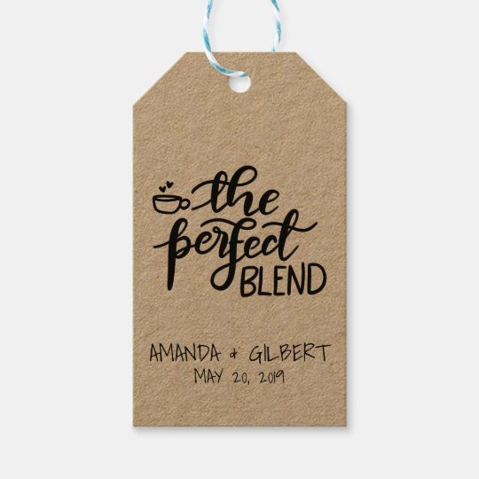 The Perfect Blend Rustic Kraft Paper Wedding Gift Tags