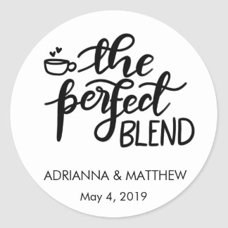 The Perfect Blend Whimsical Wedding Favor Classic Round Sticker