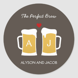 The Perfect Brew Wedding Favor Sticker/ Envelope Round Sticker