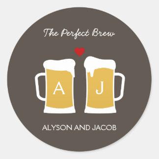 The Perfect Brew Wedding Favor Sticker/ Envelope Round Sticker