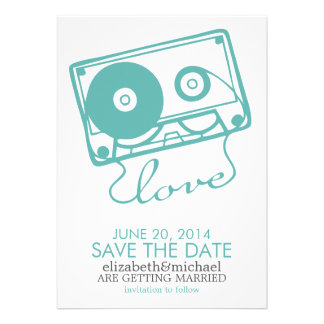 The Perfect Mix Wedding Save the Date aqua Personalized Invitations
