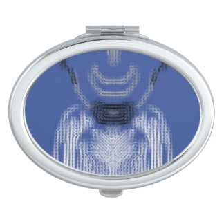 The Person on blue background Vanity Mirror